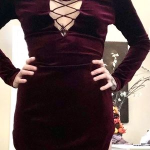 Burgundy velvet shirt dress